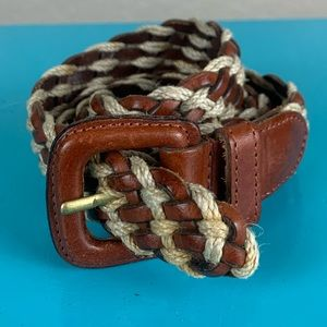 Fossil brown leather and rope braided belt